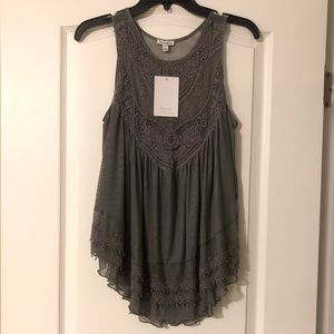 Gray Sleeveless Top W/ Embroidered Detail